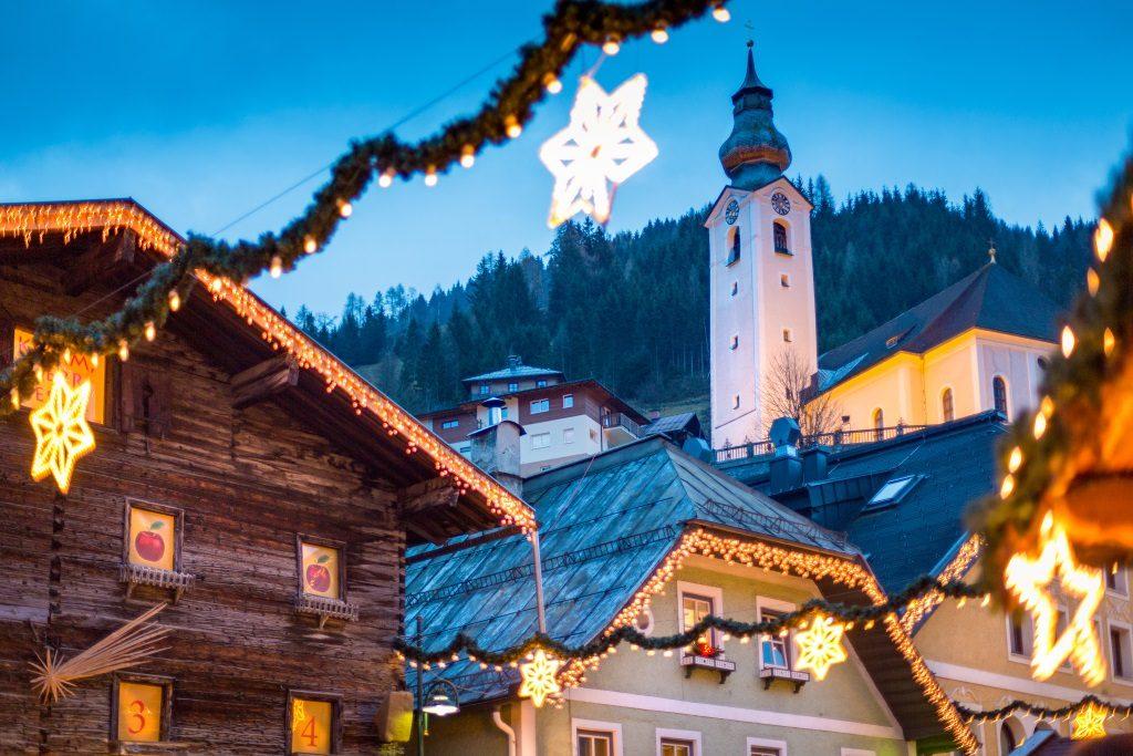 Christmas atmosphere ine decorated town of Salzburg